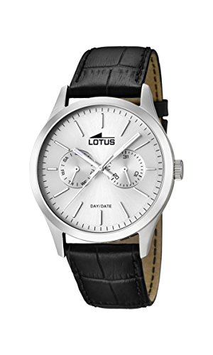 Lotus Men's Quartz Watch with Silver Dial Analogue Display and Black Leather Strap 15956/1