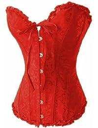 Dissa® Tapisserie de fleurs corset avec G-String, rouge
