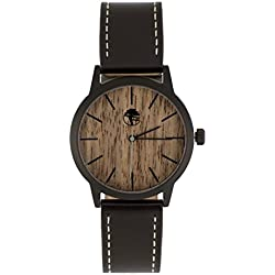 Viable Harvest Men's Wood Watch Walnut Waterproof Black Steel Case Quartz Movement Genuine Leather Strap