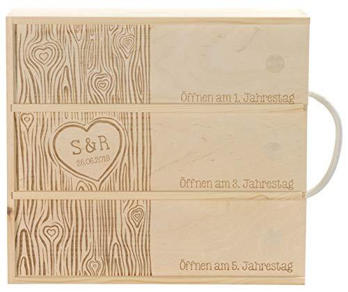 LAUBLUST Holzkiste für 3 Weinflaschen Love Motiv - Weinkiste zur Hochzeit mit Wunsch-Gravur - 35x32x11cm, Natur, FSC®