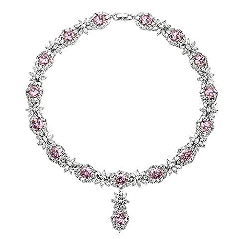 KnSam Collier Femme Plaqué Argent Fleur Feuille Rose Pendentif Collier Cristal [Novelty Collier]