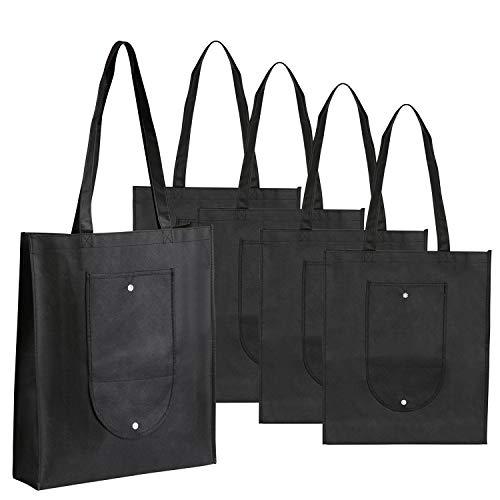 Leinwand Staubbeutel Bulk schwarz (5Pack), lemeso Canvas Tote Taschen Heavy Duty & tragbar und wiederverwendbar Lebensmittels Staubbeutel für Frauen Shopping Outdoor Reisen (Tuch Bulk-lebensmittel-beutel)
