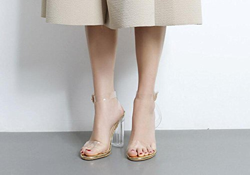 GLTER Cinturino Donne Pumps High Heels Word punta aperta Sfilata scarpe di cristallo trasparente scarpe grosse Sandali Outdoor Gold
