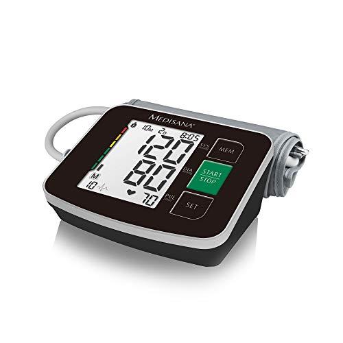 arm-Blutdruckmessgerät in schwarz mit Arrhythmie-Anzeige, WHO-Ampel-Farbskala - für eine präzise Blutdruckmessung und Pulsmessung mit Speicherfunktion - 51166 ()
