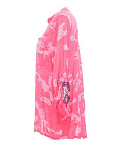Moda Italy Damen Schlupfbluse Bluse Fischerhemd Camouflage Muster Punkten V-Ausschnitt und Langen Ärmel mit Knopfriegel Polka Dots Longbluse Hemdbluse Pink