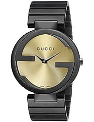 Gucci Damen-Armbanduhr INTERLOCKING Analog Quarz Edelstahl beschichtet YA133314