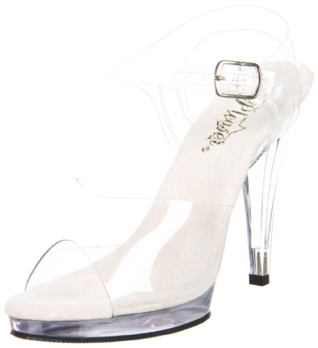 Pleaser Fla408, Damen Sandalen, Transparent (clear), 39 EU (6 UK) Ankle Strap Platform Sandal