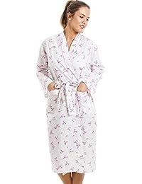 Robe de chambre légère - longueur genou/manches longues - motif floral - rose et blanc