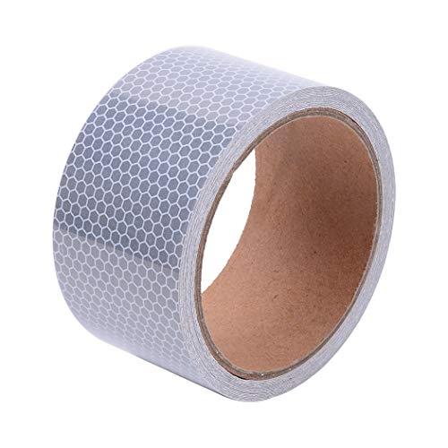Brightplus High Intensity Sicherheitsband, reflektierendes Klebeband, für Auto, Silber-weiß, selbstklebend, 5,1 x 38,1 cm (Reflektierende Lkw-tape)