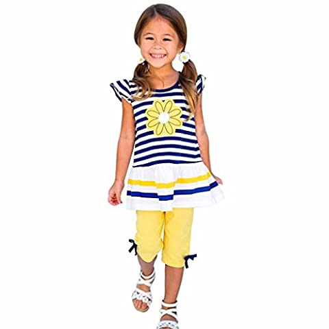 Kolylong Kids Girls Daisy Flower Stripe Shirt Top Bow Pant