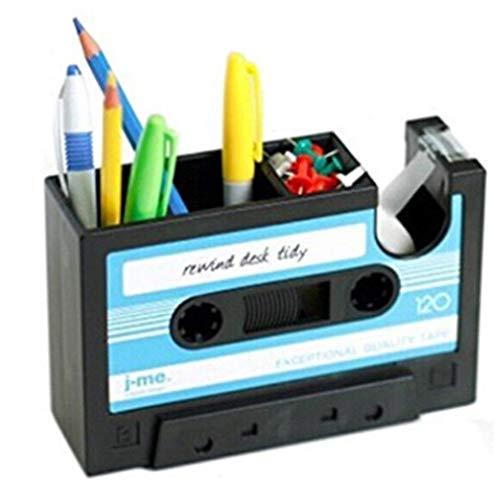 Hi_Smile Retro Tape Stifthalter Schreibtisch Ordentlich Organizer Klebebandspender Desktop Storage Box_Blau