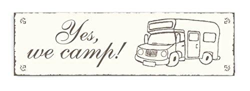 SCHILD Türschild « YES, WE CAMP! » Shabby Vintage Holzschild Dekoschild Dekoration home accessoires Heim Camping Zelten Wohnwagen