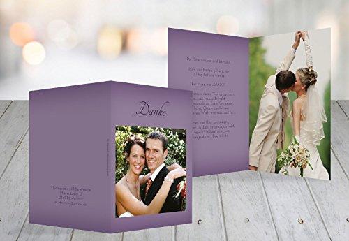 Kartenparadies Danksagung für Hochzeitsgeschenke Hochzeit Danke 3 Liebesmoment, hochwertige Danksagungskarte Hochzeitsglückwünsche inklusive Umschläge | 50 Karten - (Format: 105x148 mm) Farbe: LilaFlieder