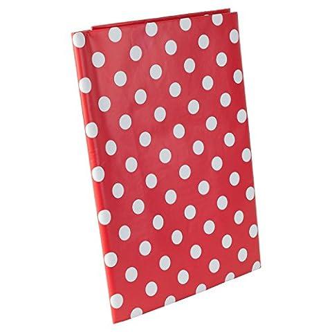 1 x Nappe en Vinyle PVC à Pois Rouges et Blancs 130 x 170cm