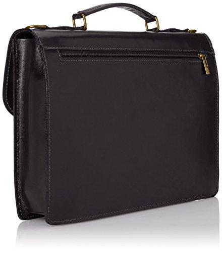Man Tasche von CTM Arbeitsordner, Port Dokumente, 38x27x7cm, 100% echtes Leder Made in Italy Schwarz (Nero)