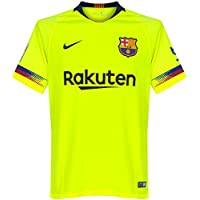 Nike Barcellona Away Std, Maglia da Calcio Uomo, Volt/Deep Royal Blue/Full Sponsor, L