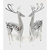 link products ltd Plastic Reindeers Table decoration 25 cm Assorted Colours (Silver)