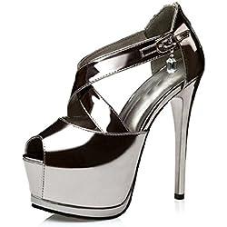 Aiko Shoes , Damen Plateau Pumps , silber - silber / schwarz - Größe: 36