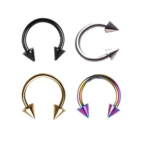 New Damsel 2 PCS Spike Septum-Piercing Echt Edelstahl Nasenseptum Ring für Männer Frauen Cartilage Ohrringe Lippen Nippel Augenbrauen Ringe, Blau, 16g 1.2x8x3
