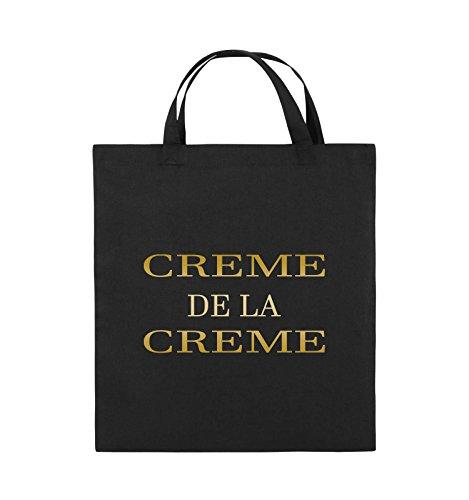 Comedy Bags - CREME DE LA CREME - Jutebeutel - kurze Henkel - 38x42cm - Farbe: Schwarz / Pink Schwarz / Gold