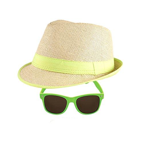 Trilby Hut + Neon Sonnenbrille - 2er Set (Grün) ()