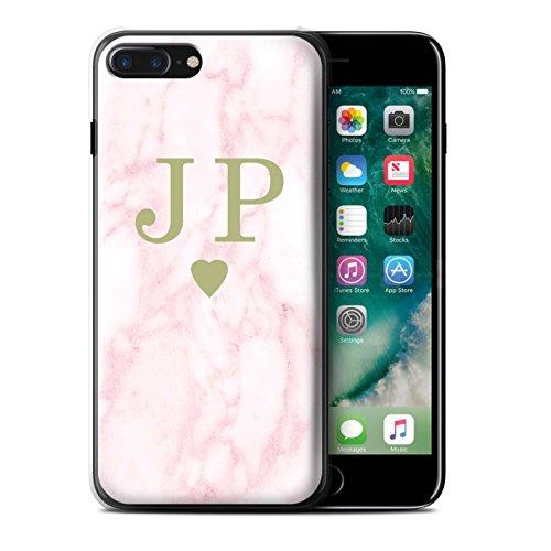 Personalisiert Rosa Marmor Mode Hülle für Apple iPhone 6S / Gerahmt Silber Single Design / Initiale/Name/Text Schutzhülle/Case/Etui Solides Gold Herz