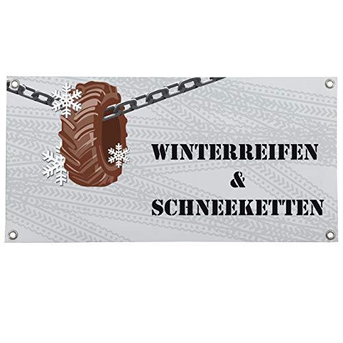Vispronet PVC-Banner ✓ Motivauswahl ✓ versch. Größen ✓ mit Metallösen ✓ inkl. Befestigungsmaterial (100x200 cm, Winterreifen & Schneeketten)