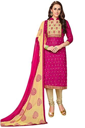 Salwar Suits For Women (Manmandir's Pink Cotton Dress Material Manjulika-613)
