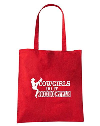 T-Shirtshock - Borsa Shopping FUN1087 cowgirls do it rodeo style decal 73047 Rosso