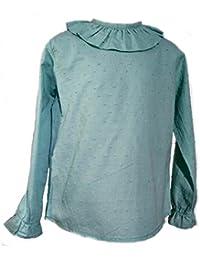 Godettia, Camisa Blanca de plumeti para niña. Fabricado en España.