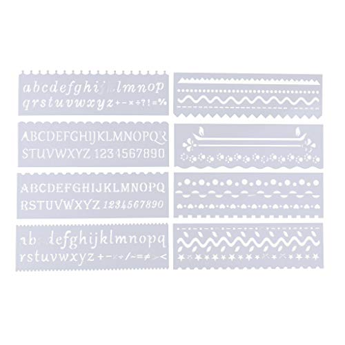 B Baosity 8 Style Multifunktionale Zeichnungsvorlage Zeichnung Lineal Technisches Zeichnen Abrundungsschablone - Welle, 185 x 55 mm
