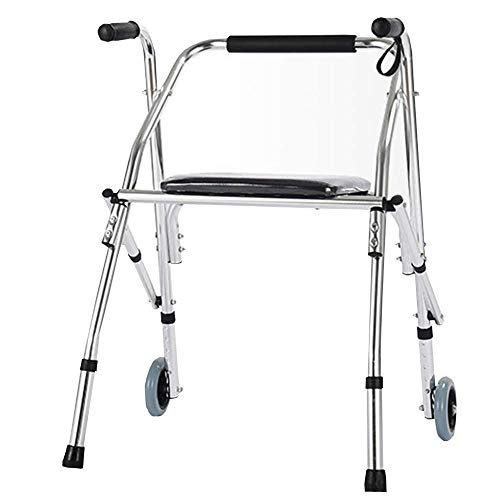 ZXL Leichter 3,1-kg-Lauftrainer aus Aluminiumlegierung mit Riemenscheibe, Sitz und tragbarem Laufrahmen - Walker Rest Sitz