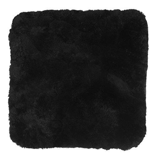 Preisvergleich Produktbild WOLTU® AS7340sz-a Autositzkissen Lammfell universal Sitzkissen 100% Echtlammfell, feste Wolle, ca. 1.8cm dicke, 50 x 50 cm, Schwarz