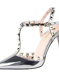 LvYuan-ggx Zapatos de mujer-Tac¨®n Stiletto-Tacones-Tacones-Casual-PU-Negro / Rosa / Blanco / Plata / Gris , pink-us6.5-7 / eu37 / uk4.5-5 / cn37 , pink-us6.5-7 / eu37 / uk4.5-5 / cn37