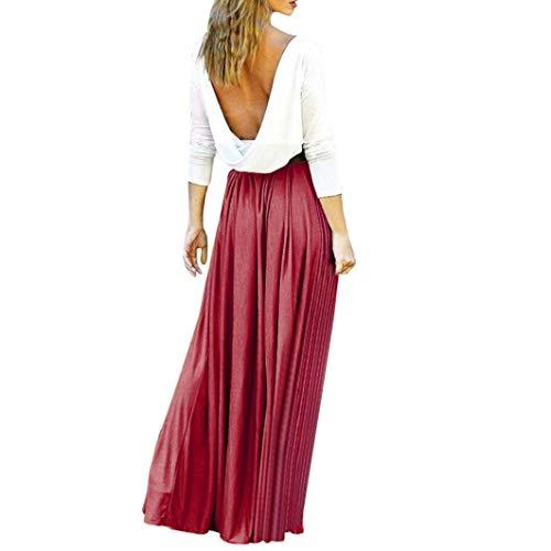 Subfamily® Frauen Hohe Taille Elegante Kleider Bodenlanges Kleid rückenfrei Sexy Long Beach bunten Dress elegant Kleid Sommer und Herbst ()