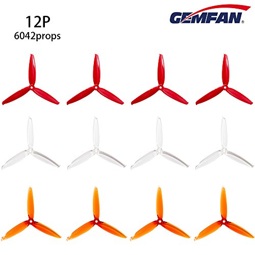 Hootracker 12pcs Gemfan 6042 3-Blade Propellers 6 Inch Flash Props CW CCW, Match for 2406 2407 Brushless Motor for 220 250 280 FPV Drone Racing Quadcopter Frame Kit (Red Clear Clear Orange)