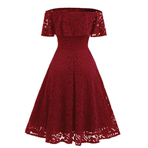 Hansee Frauen Vintage Schulterfrei Spitze Sexy Flare Cocktail Schaukel A-Line Kleid Strap Ballkleid Kleid (L, Rot) (Mutterschaft Band Empire-taille)