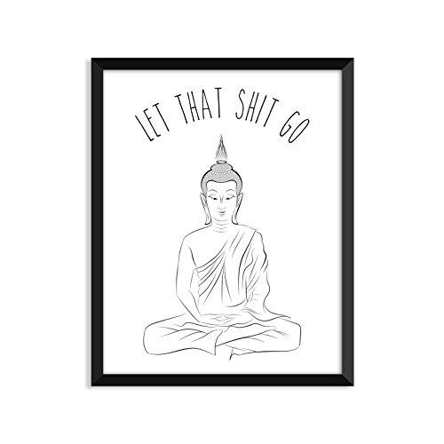 Let That Shit Go, Yoga Poster, Zen, Buddha, Minimalistische Poster, Home Decor, College Wohnheim Zimmerdekoration, Wand-Kunst ()