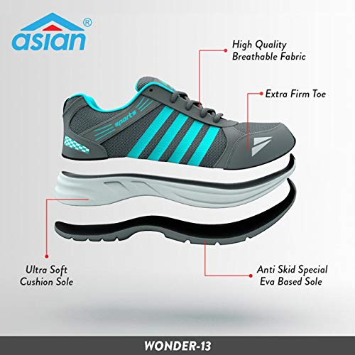 ASIAN Shoes Wonder 13 Grey Firozi Men's Sports Shoes 11 UK/Indian