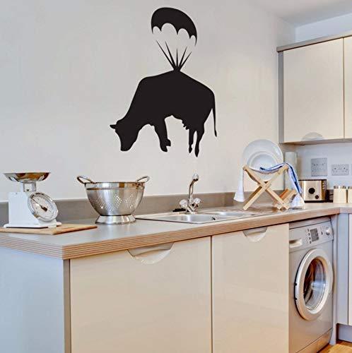 chirmspringen Kuh Wandtattoo Küche Wandkunst Aufkleber Wohnkultur Esszimmer Fuuny Nette Wasserdichte Dekoration Wandbild ()