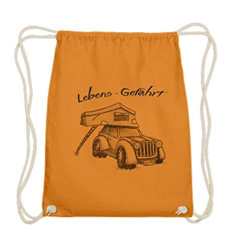 Shirtee Dachzelt Camper - Camping Urlaub auf dem Dach Deines Autos zelten - Für echte Zelter - Baumwoll Gymsac -37cm-46cm-Orange