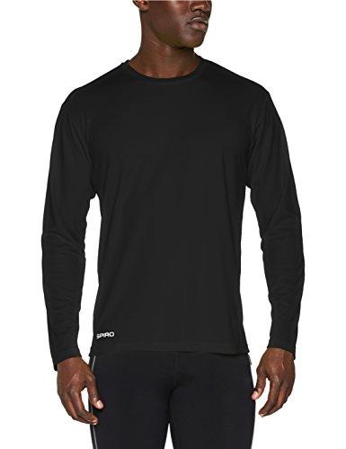 Spiro Herren Quick Dry Performance Langarm T-Shirt, Schwarz, XL