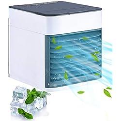 Refroidisseur d'air Portable, Climatiseur Portable Evaporatif 3 Vitesse, Filtre avec Coton Antibactérien, Réservoir d'eau sans Fuite, USB Câble, Veilleuse pour Maison, Bureau et Voiture