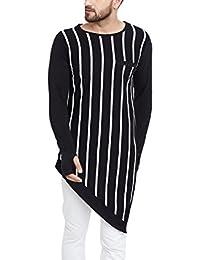 ea5a8405c2a Hypernation Black and Ecru Vertical Stripe Round Neck Cotton Asymmetrical T- Shirt for Men(