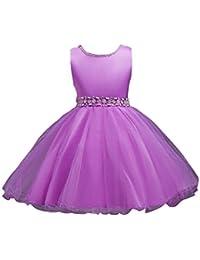 Vestido de Princesa de Tul para Niñas sin Mangas para Boda Bautizo Fiestas