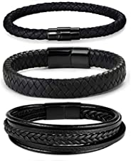 FIBO STEEL 3 Pcs Magnetic-Clasp Braided Leather Bracelets for Men Wrap Leather Wrist Cuff Bangle Bracelets 8.3