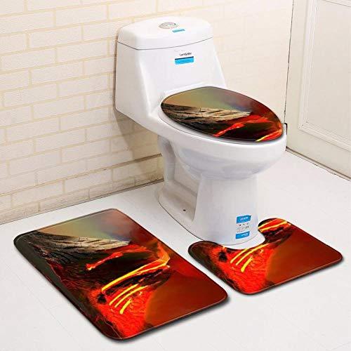 Drei Stück Bad-set (Taxpy Bath Mats Bad Fußmatten kreative Vulkan Bad dreiteilige WC-Sitzmatte Türmatte rutschfeste Bad Teppich @ A_DREI-Stück-Set 50 * 80cm)