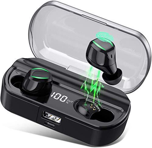 HETP Écouteur Bluetooth 5.0 sans Fil Oreillettes Bluetooth Étanche IPX7【2020 TWS Microphone T23】Anti-Bruit CVC 8.0 Léger Stéréo 3500mAh Étui de Charge Autonomie 80heure Écouteur Sport pour iOS Android