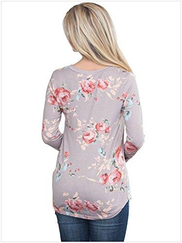 szivyshi Sexy Manches Longues Col Rond Ourlet Incurvé à Fleurs Imprimé Basic T-Shirt Tee Haut Top Kaki