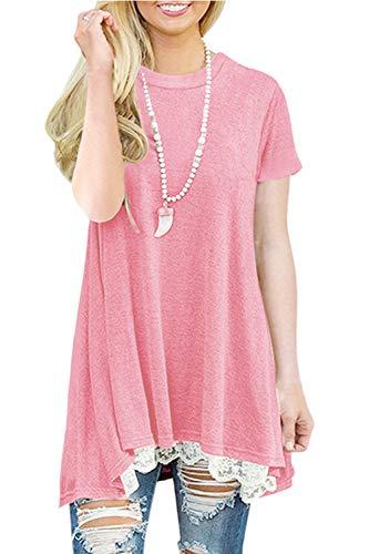 NICIAS Damen Sommer Kurzarm T-Shirt Pullover Rundhals Spitze Tunika Top Lässige Oberteil Bluse Shirt Rosa S - Lange Pullover Leggings